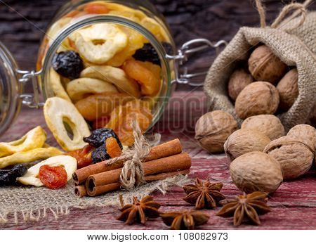 Dried Fruits And Nuts On A Table