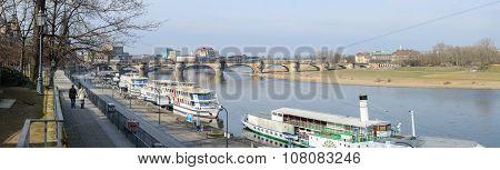 View Of Bruhl's Terrace Towards Augustus Bridge, Dresden, Saxony, Germany.