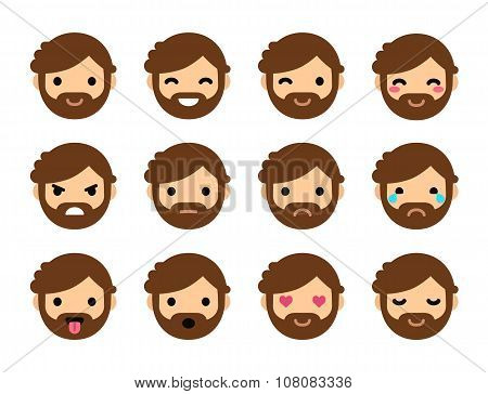 Cute Flat Male Emoticons