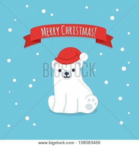 Merry Christmas Cute Polar Bear