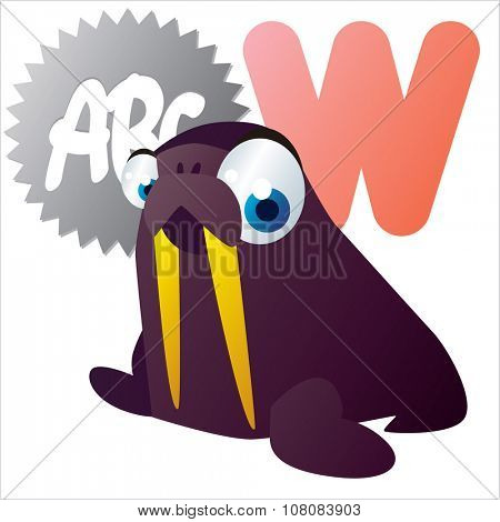 vector funny comic animal alphabet: W is for Walrus