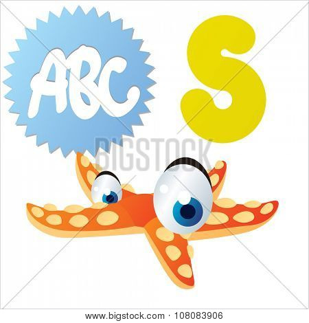 vector funny comic animal alphabet: S is for Starfish