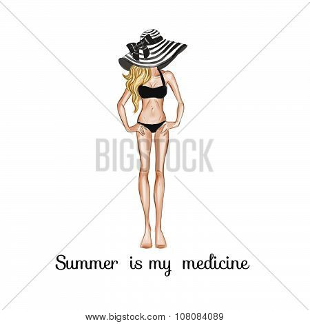 Hand drawn background - fashion illustration - sketch - girl in bikini and large hat