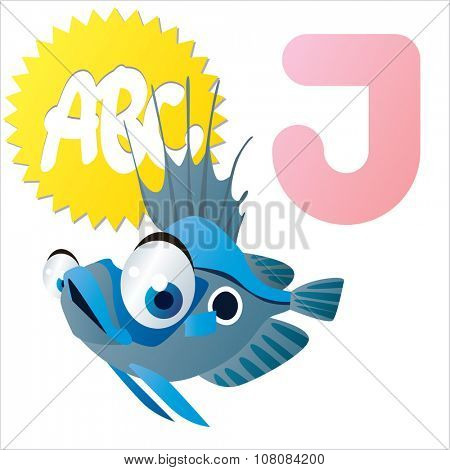vector funny comic animal alphabet: J is for John Dory