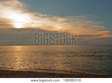 Malaysia,sunset Over The Ocean.horizontal
