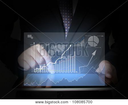 touch screen , touch- tablet in hands
