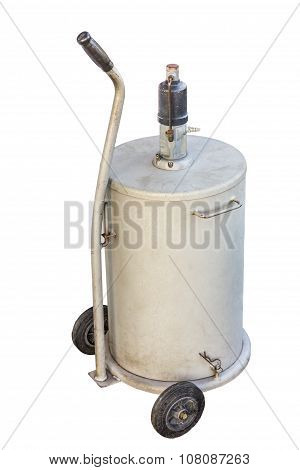 White Fuel Tank With Wheel Isolate On White Background