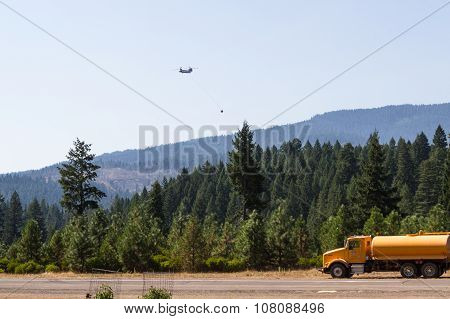 Chinook Helicopter Fighting Fires