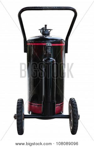 Black Fuel Tank With Wheel Isolate On White Background