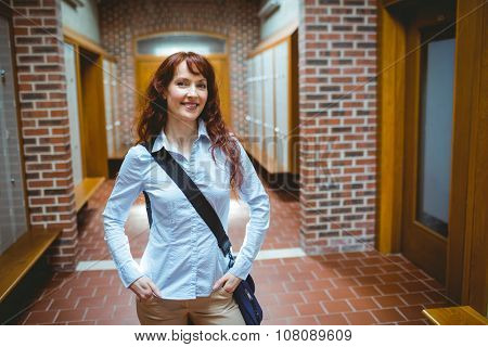 Mature student standing in the hallway at the university