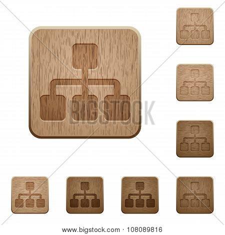 Network Wooden Buttons