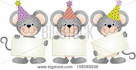 Birthday mouses with signboards