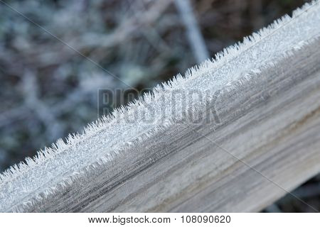 Wooden Plank Covered With Frost