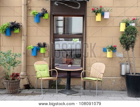 Beautiful Outdoor Cafe In Vilnius, Lithuania