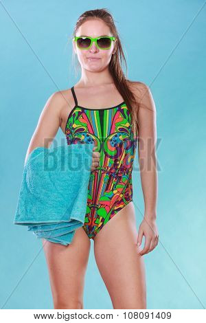 Young Woman Girl In Swimsuit With Towel.