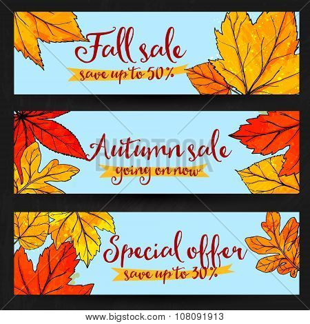 Autumn sale banners with golden and red leaves. Set of fall promo vector designs with hand drawn art