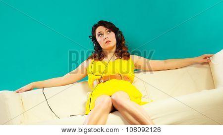 Girl In Headphones Listening Music Mp3 Relaxing