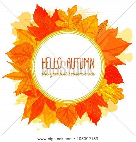 Autumn round frame with hand drawn golden leaves. Hello autumn banner. Fall design for advertisement