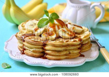 Homemade Waffles With Banana,caramel And Mascarpone.