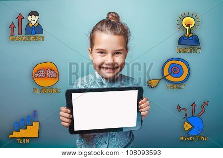 Happy smiling teenager girl holds in the hands of the plate with