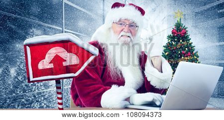 Santa is satisfied about what he found against home with christmas tree