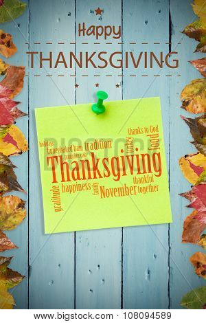 Happy thanksgiving against digital image of pushpin on green paper