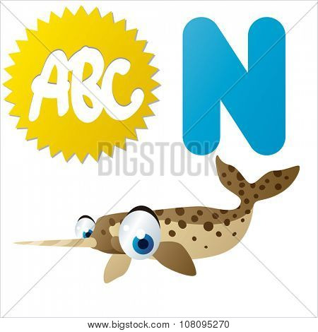vector funny comic animal alphabet: N is for Narwhal