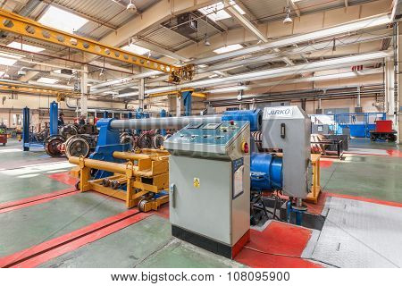 Moscow/russia - June , 2014;  The Equipment Inside The Tram Depot. Krasnopresnenskaya Tram Depot, St