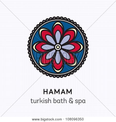 Islamic flower round ornament. Vector logo line art icon for hamam - turkish bath or spa center