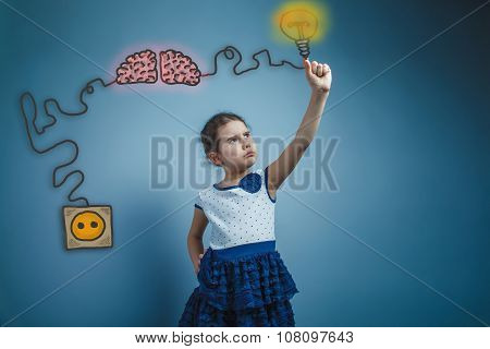 Teenage girl holding a light bulb with your fingers frowned char