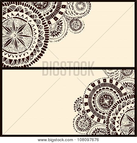 Set of two horizontal banners with brown circle doodle elements. Vector layout design