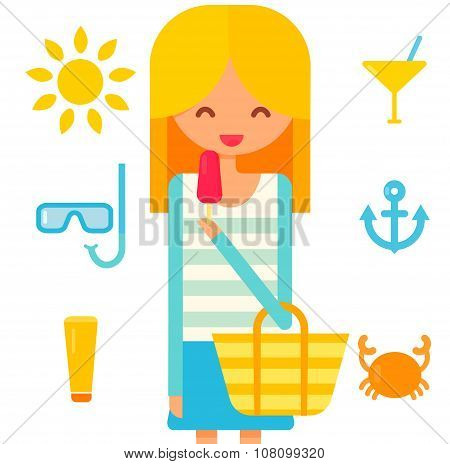 blonde girl eats pink icecream. Summer vector icons: sun, diving mask, cream tube, cocktail and crab