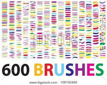 Vector very large collection or set of 600 artistic colorful multicolored paint hand made creative brush strokes isolated on white background