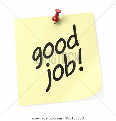 Good Job Yellow Sticky Note