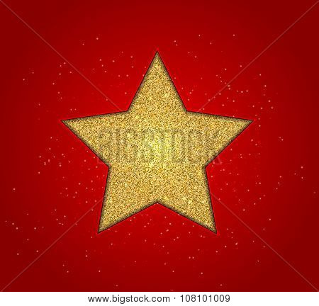 Gold shining star on red background, design christmas card