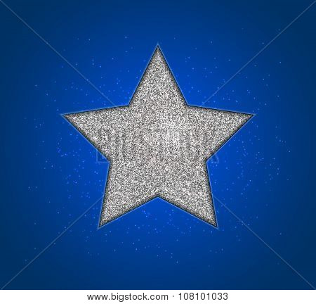 Silver shining star, blue background. Design christmas card
