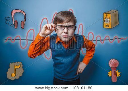 retro style teenage boy leaned forward, eyes narrowed holds hand