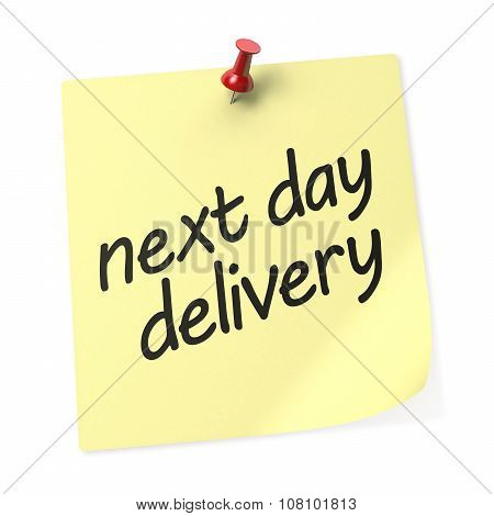 Next Day Delivery Yellow Sticky Note