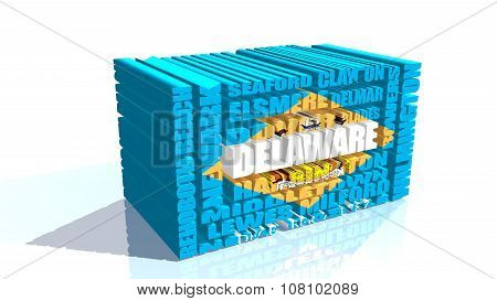 delaware state cities list textured by flag