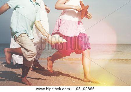 Family Beach Sea Sand Starfish Shell Vacation Concept