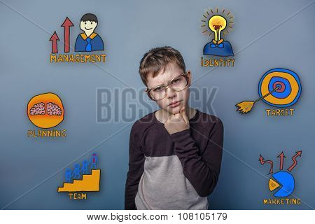 Teenage boy in glasses thinking and props up fists chin thinking