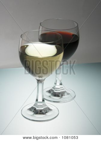 Glass Of Red And Withe Wine