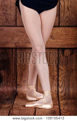 Fourth Position In Classical Ballet. Ballet Pas. Legs Of Ballerinas.