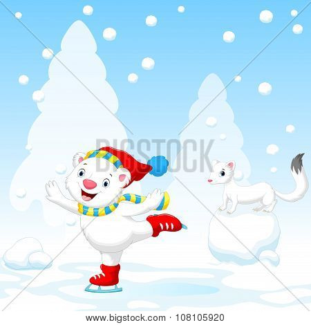 Illustration of cute polar bear on ice skates