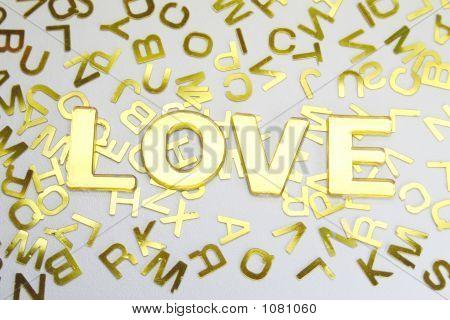 Love Golden Letters Background