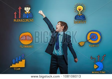 teenage boy raised his hand up shouting businessman opened his m