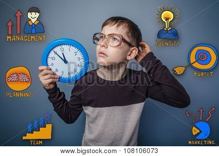 Teenage boy scratching his head holding a clock thought looking