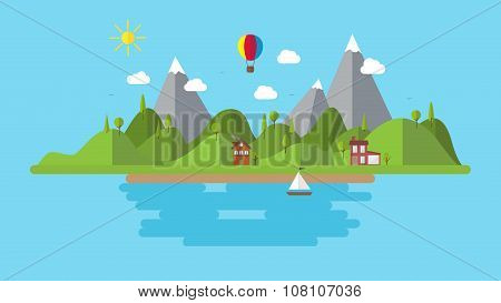 Flat Vector Landscape Illustration . With House Boat And Hills Background