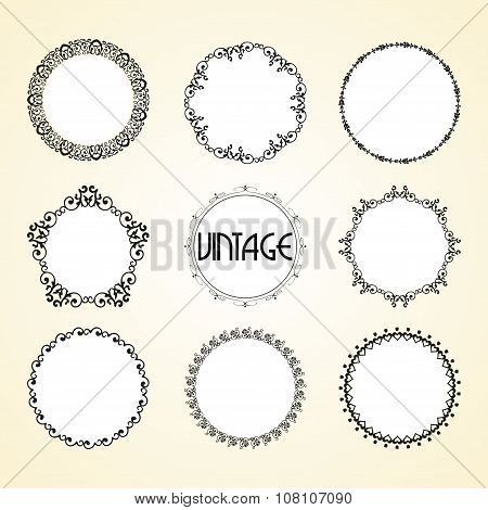 Vintage Calligraphy Vector Blank Border Frame Set