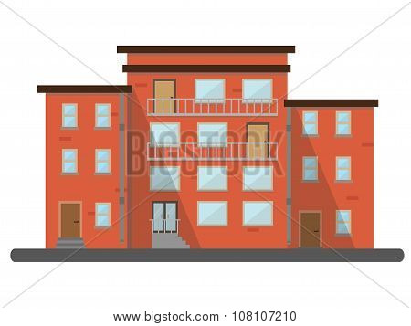 Flat Residential Brick House City